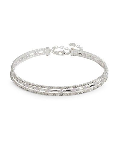 Anne Klein Faux Pearl Silvertone Choker Necklace-SILVER-One Size