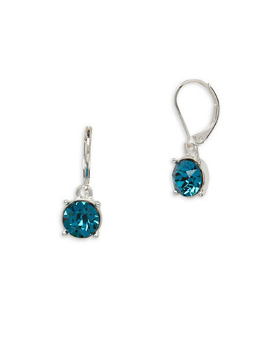 Anne Klein Swarovski Crystal Silvertone Leverback Earrings-BLUE-One Size