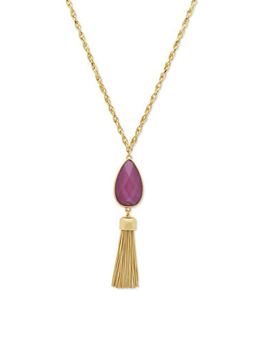 Nine West Spring Droplets Tassel Necklace-BURGUNDY-One Size
