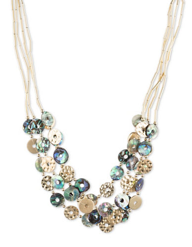 Lonna & Lilly Goldplated Multi-Row Necklace-BLUE-One Size