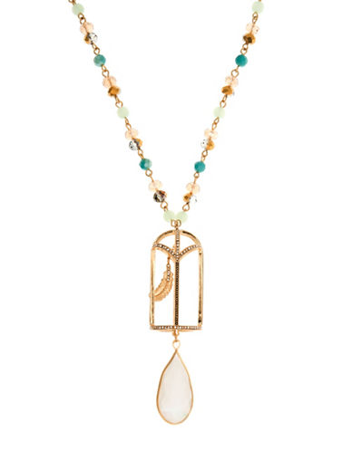 Lonna & Lilly Golden Shadow White Opal Goldtone Pendant Necklace-WHITE-One Size
