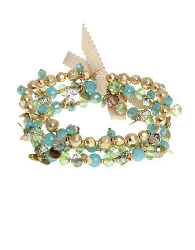 Lonna & Lilly Rose Showers Goldplated Beaded Stretch Bracelet-BLUE-One Size