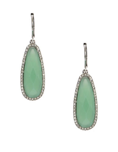 Lonna & Lilly Rhodium-Plated Drop Earrings-GREEN-One Size