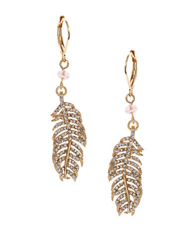 Lonna & Lilly Hanging Blossoms Goldplated Studded Leaf Drop Earrings-GOLD-One Size