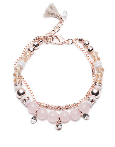 Lonna & Lilly Rosegoldtone Beaded Bracelet-PINK-One Size