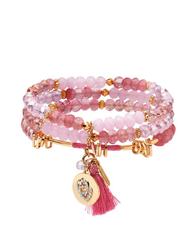 Lonna & Lilly Rose Goldplated Beaded Stretch Bracelet-PINK-One Size