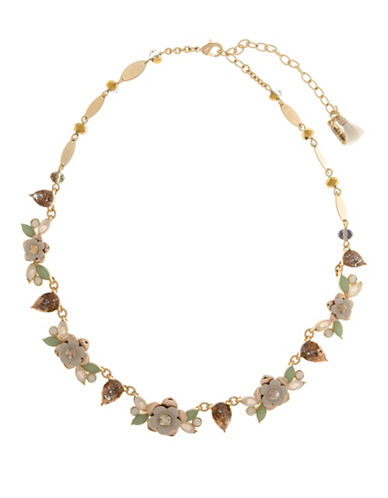 Lonna & Lilly Golden Shadow White Opal Two-Tone Floral Necklace-MULTI-One Size