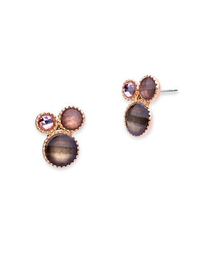 Lonna & Lilly Cluster Stud Earrings-RED-One Size