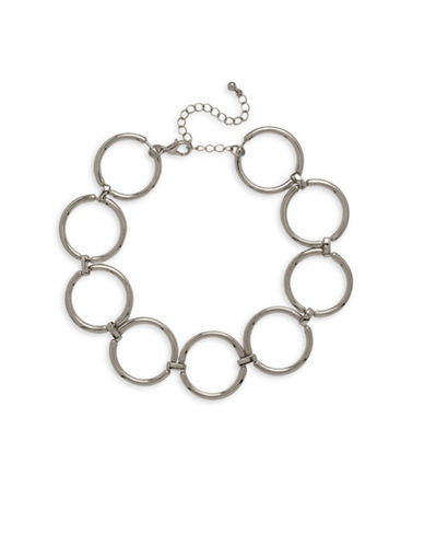 Garbo Ring Choker Necklace-SILVER-One Size