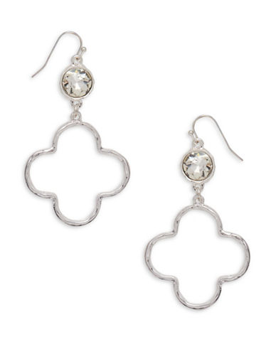 Canvas Moroccan Vibe Silvertone Quarterfoil Drop Earrings-SILVER-One Size