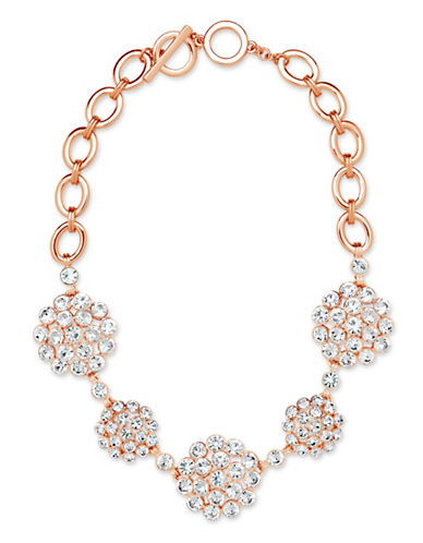 Anne Klein Cluster Chain Link Necklace-ROSEGOLD-One Size