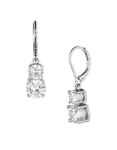 Anne Klein Cubic Stone Silvertone Double Drop Earrings-SILVER-One Size