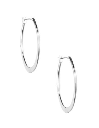 Anne Klein Silvertone Large Oval Hoop Earrings-SILVER-One Size