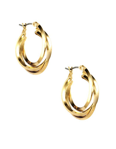 Anne Klein Flash Goldplated Interlocked Hoop Earrings-GOLD-One Size