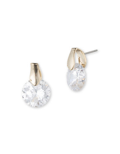 Anne Klein Cubic Zirconia Goldtone Stud Earrings-CRYSTAL-One Size