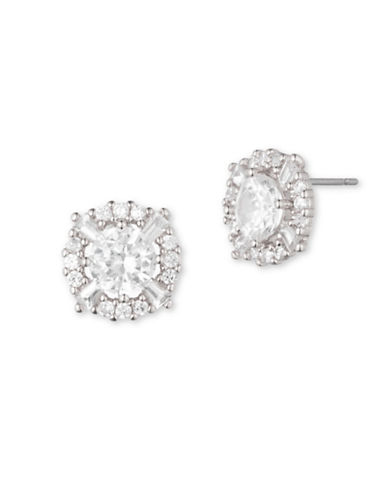 Anne Klein Cubic Zirconia Silvertone Prong Set Stud Earrings-CRYSTAL-One Size