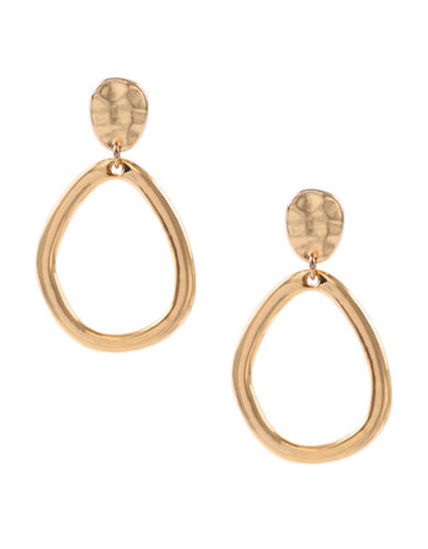 Anne Klein Gold Flashed Oval Hoop Earrings-GOLD-One Size