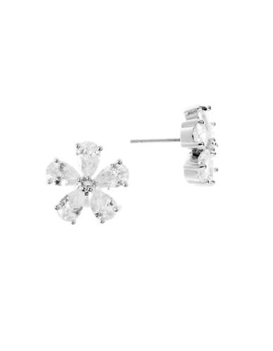 Anne Klein Cubic Zirconia Silverplated Floral Stud Earrings-CRYSTAL-One Size