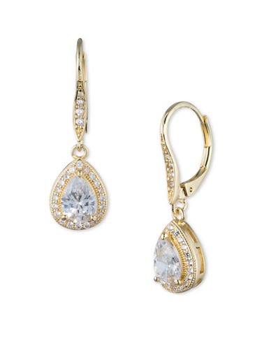 Anne Klein Cubic Zirconia Goldplated Pear Drop Earrings-GOLD-One Size