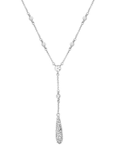 Anne Klein Silvertone Teardrop Y Pendant Necklace-SILVER-One Size