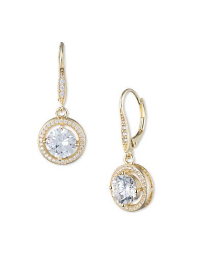 Anne Klein Cubic Zirconia Goldplated Round Drop Earrings-GOLD-One Size