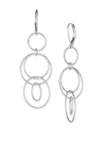Anne Klein Silverplated Tiered Drop Earrings-SILVER-One Size