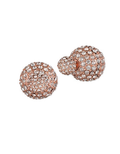 Anne Klein Rose Goldtone Double Fireball Earrings-ROSE GOLD-One Size