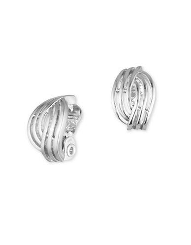 Anne Klein Silverplated Open Weave Button Earrings-SILVER-One Size