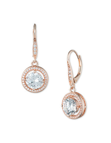 Anne Klein Cubic Zirconia Rose Goldplated Round Drop Earrings-ROSE GOLD-One Size