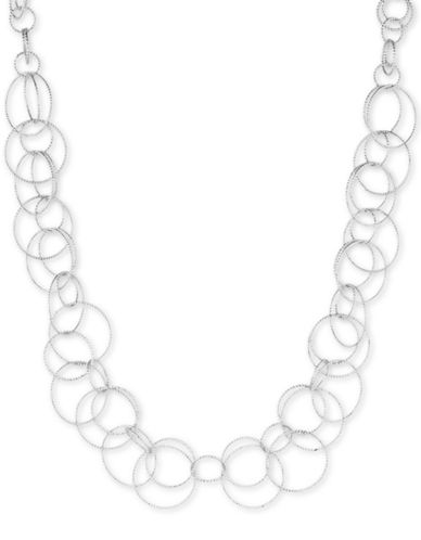 Anne Klein Silverplated Open Link Collar Necklace-SILVER-One Size