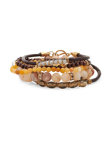 Canvas Eclectic Mixed Bracelet Set-BROWN-One Size