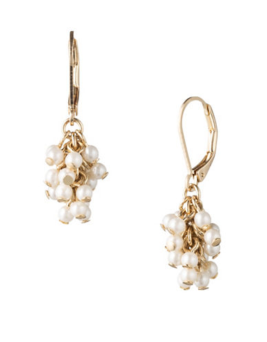 Lonna & Lilly 3MM Pearl Goldplated Cluster Drop Earrings-WHITE-One Size