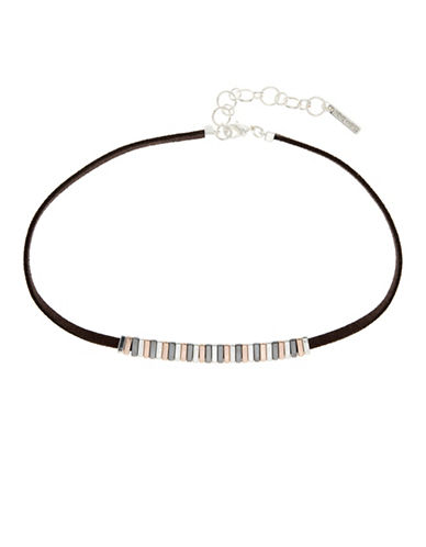 Nine West Tinge of Fringe Multitone Collar Necklace-TRI TONE-One Size