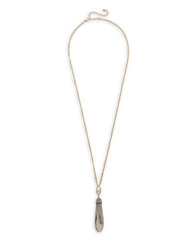 Garbo Long Pendant Necklace-BLACK-One Size