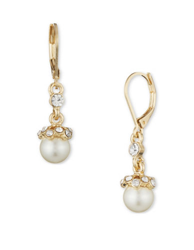 Anne Klein 8MM Faux Pearls Goldtone Drop Earrings-NATURAL-One Size