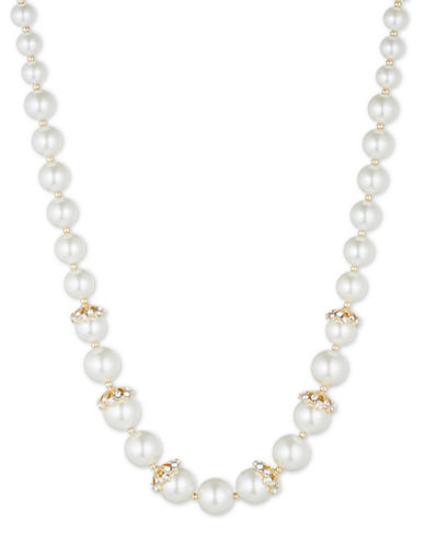 Anne Klein 8mm-12mm White Round Glass Pearl Necklace-PEARL-One Size