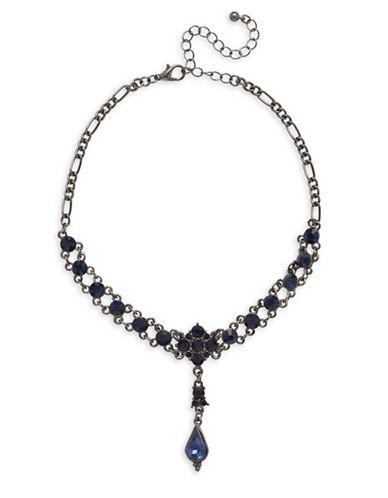 Garbo Teardrop Stone Choker Necklace-BLUE-One Size