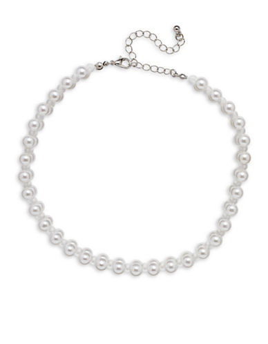 Cezanne 7MM White Cultured Pearl Choker Necklace-WHITE-One Size