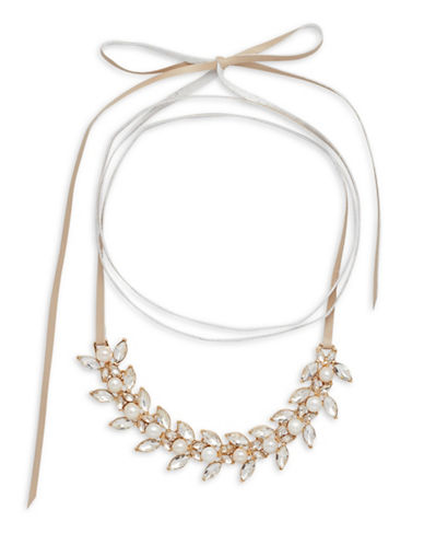 Cezanne Faux-Pearl and Pave Tie Choker-BEIGE-One Size