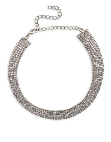 Cezanne Pave Crystal Collar Necklace-WHITE-One Size