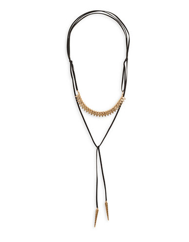 Garbo Arrowhead Leather Choker-GOLD-One Size