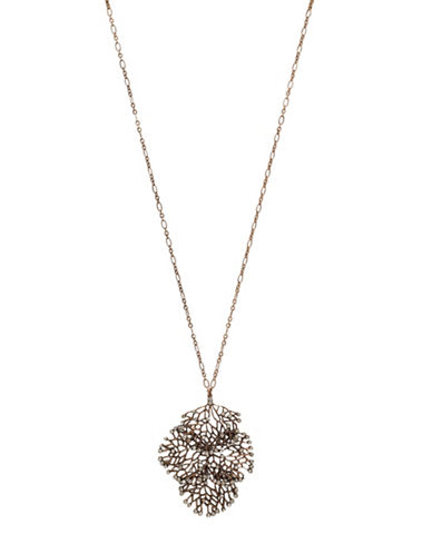 Garbo Pave Clover Pendant Necklace-BRONZE-One Size