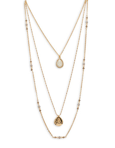 Garbo Three-Layer Pendant Necklace-GOLD-One Size
