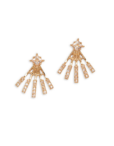 Garbo Crystal Earring Jacket-GOLD-One Size