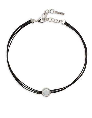 Nine West Metal Radiance Silvertone Choker Necklace-BLACK-One Size