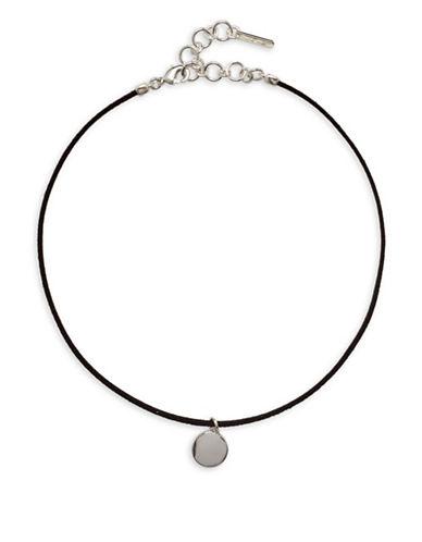 Nine West Silvertone Disc Pendant Choker Necklace-BLACK-One Size