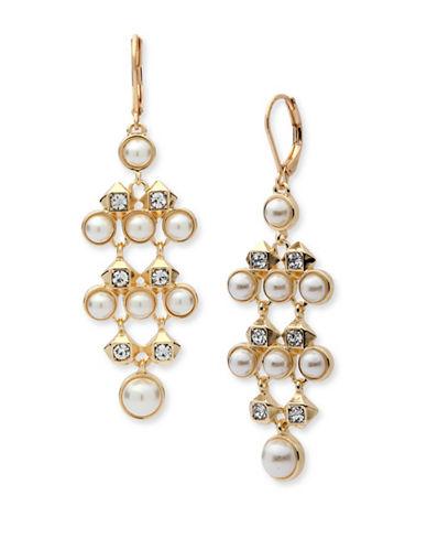 Anne Klein Chian Faux Pearl Drop Earrings-WHITE-One Size