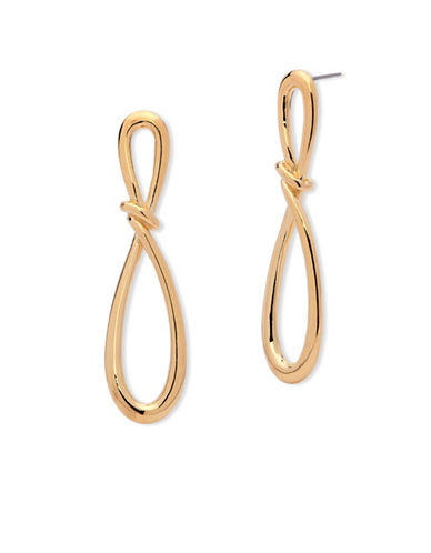 Anne Klein Going For Gold Twisted Loop Earrings-GOLD-One Size