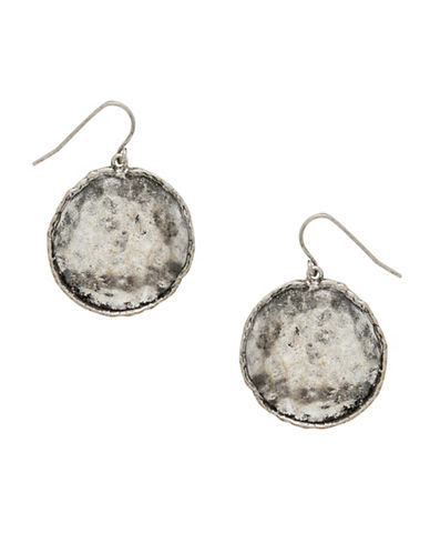 Garbo Scalloped Disc Drop Earrings-SILVER-One Size