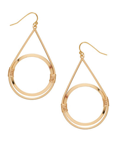 Garbo Wired Circle Drop Earrings-GOLD-One Size